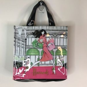 Harrods Lady in Pink Megan Hess shopping tote
